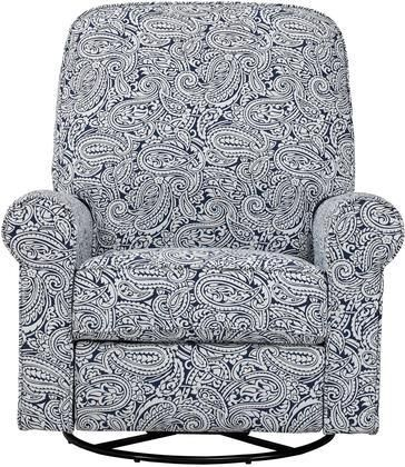 Ashewick DS-911-006-532 Swivel Glider Recliner with Padded Back and Arms Sinuous Spring Suspension and Paisley Patterned in Indigo Paisley