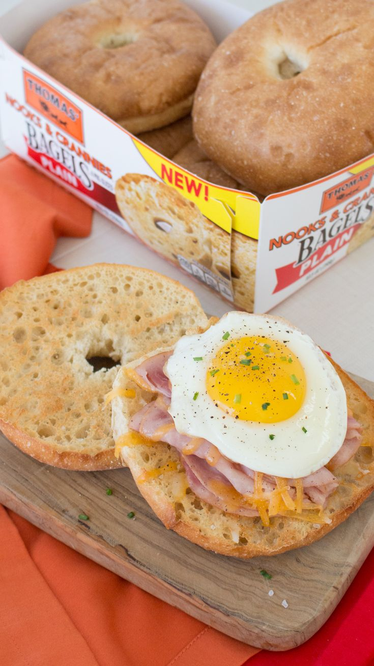 Egg, Ham & Cheese: Thomas' Nooks and Crannies Bagels make a mean breakfast sandwich! Especially topped with ham, cheese and a fried egg.