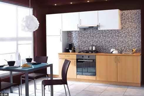 Low Cost Kitchen with Stunning Furniture : Minimalist Kitchen Design With Wooden Cabinet And Flexible Chair Furniture Decorations