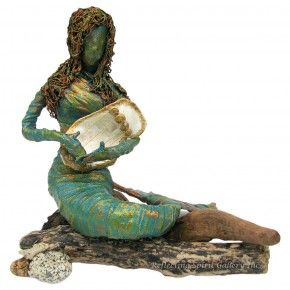 """Minstrel"" a mixed media mermaid sculpture by Kris Walker  Available @ http://www.reflectingspirit.ca/gallery/product/minstrel"
