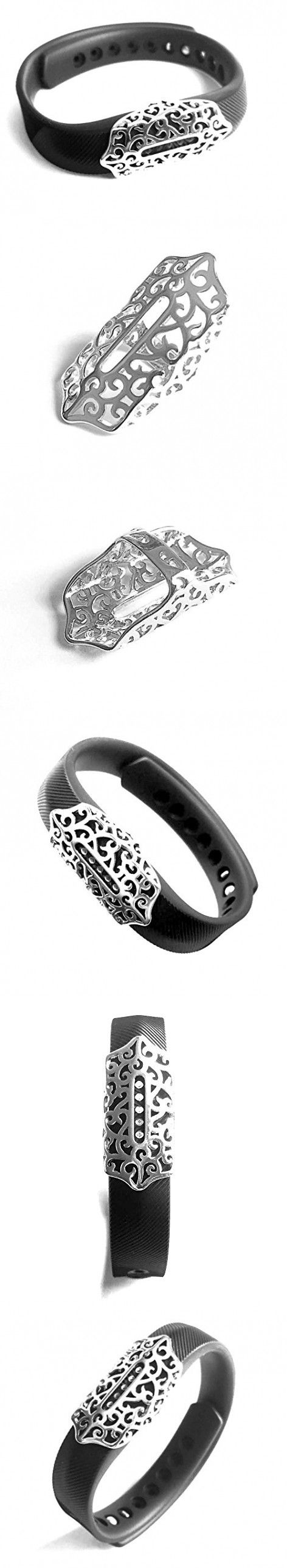 BSI Elegant Silver Metal Ornament Accessory Jewelry For Fitbit Flex 2 Fitness Activity Wristband
