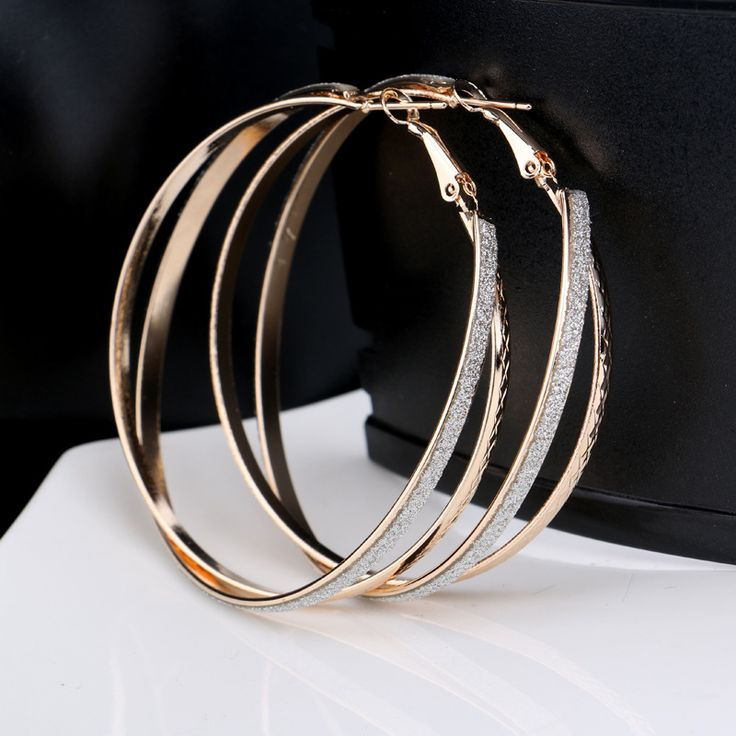 Matte and textured big hoop pierced Earrings double circles round ear ring bijoux for women lady