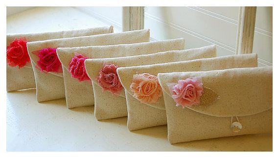 Set 6 purse rag rose choose color raw cotton linen by hoganfe,