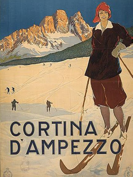 Cortina D'Ampezzo, Dolomiti, Italia: Cortinas Dampezzo, Vintage Posters, Travelposters, Cortinas D Ampezzo, Picture-Black Posters, Vintage Skiing, Clear-Blue Curtains, Vintage Travel Posters, Cortinadampezzo