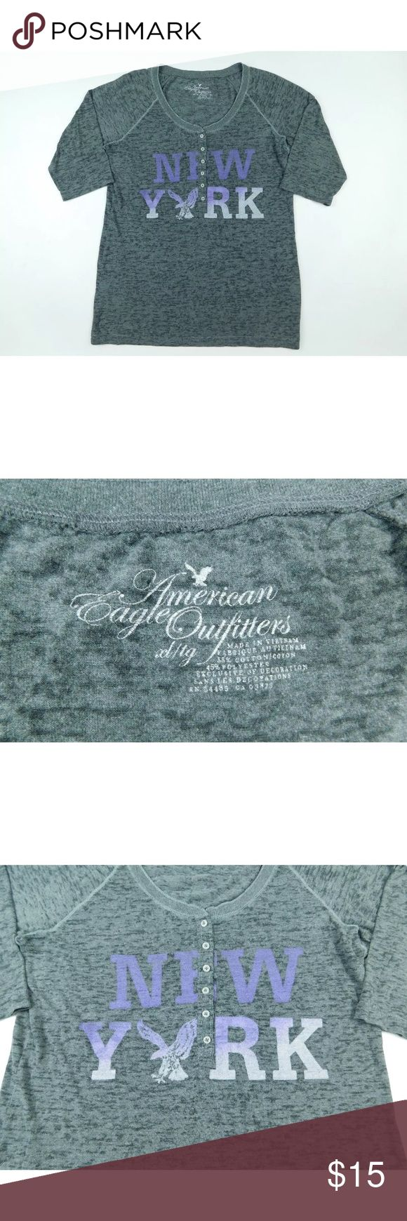 🌼American Eagle Outfitters🌼 NY Spell Out T Shirt Gently used clothing.  No flaws. American Eagle Outfitters Tops Tees - Short Sleeve