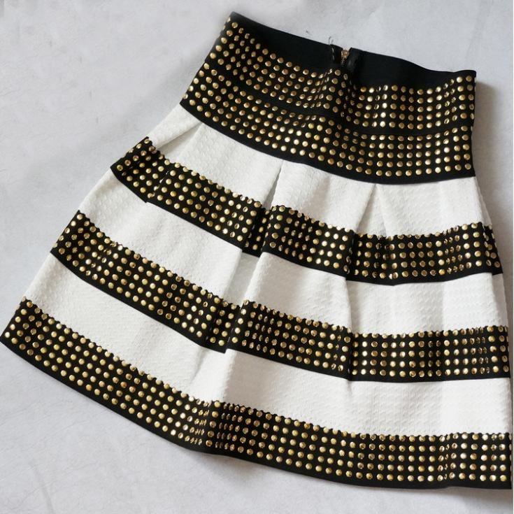 2014 faldas para mujer de oro Silver Stripe 8 capas tachonado mullido remache alta cintura elástica vendaje del vestido de bola de la falda corta 6592(China (Mainland))