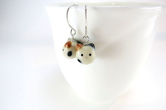 Tiny Cat Earrings Fat Cat Jewelry Calico Cat Ceramic by ChikoCraft