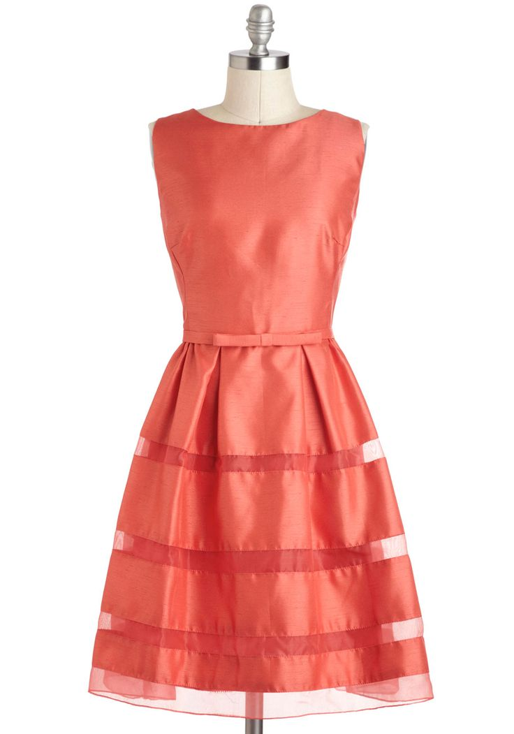 OMG. Love. $137.99 from Modcloth.    Dinner Party Darling Dress in Grapefruit Red - Solid, Tiered, Belted, Formal, Prom, Cocktail, Vintage Inspired, 50s, A-line, Sleeveless, Spring, Bows, Coral, Wedding