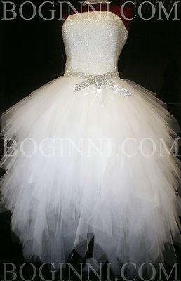 WHITE AB DIAMOND CRYSTAL BEADED BODICE MULLET WEDDING DRESS