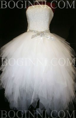 WHITE AB DIAMOND CRYSTAL BEADED BODICE MULLET WEDDING DRESS