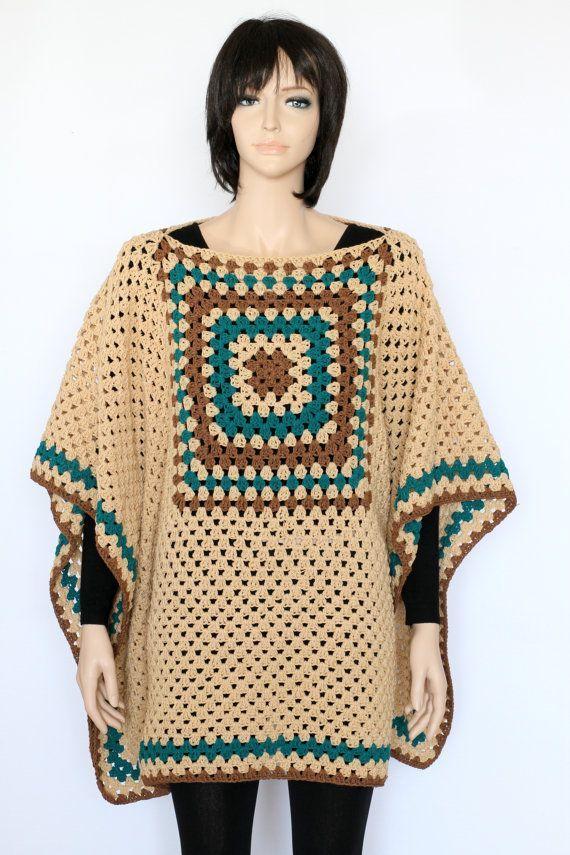 Indian Poncho PDF crochet pattern Rustic Poncho by etty2504