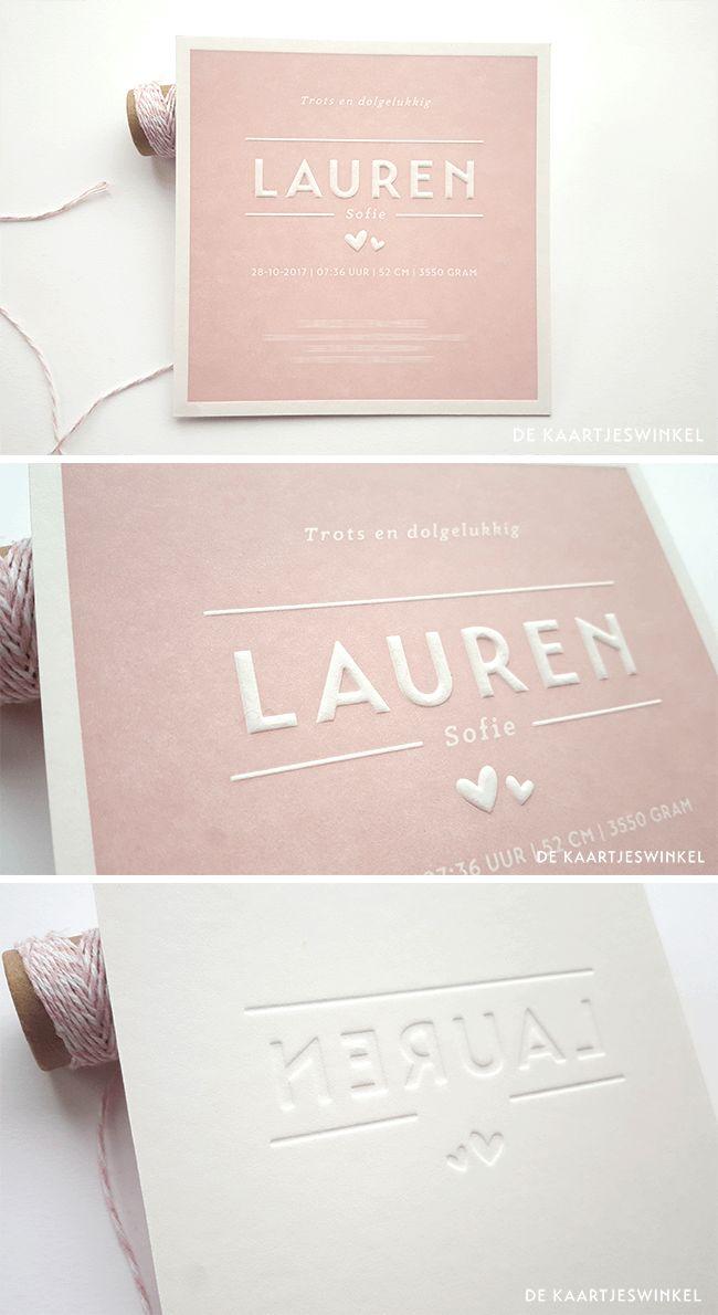Letterpress geboortekaartje Lauren © dekaartjeswinkel.nl #dekaartjeswinkel #letterpress #geboortekaartje #oudroze #birthannouncement #hartjes #preeg #pink #sweet #hearts #emboss #babygirl #meisje #meisjekaartje