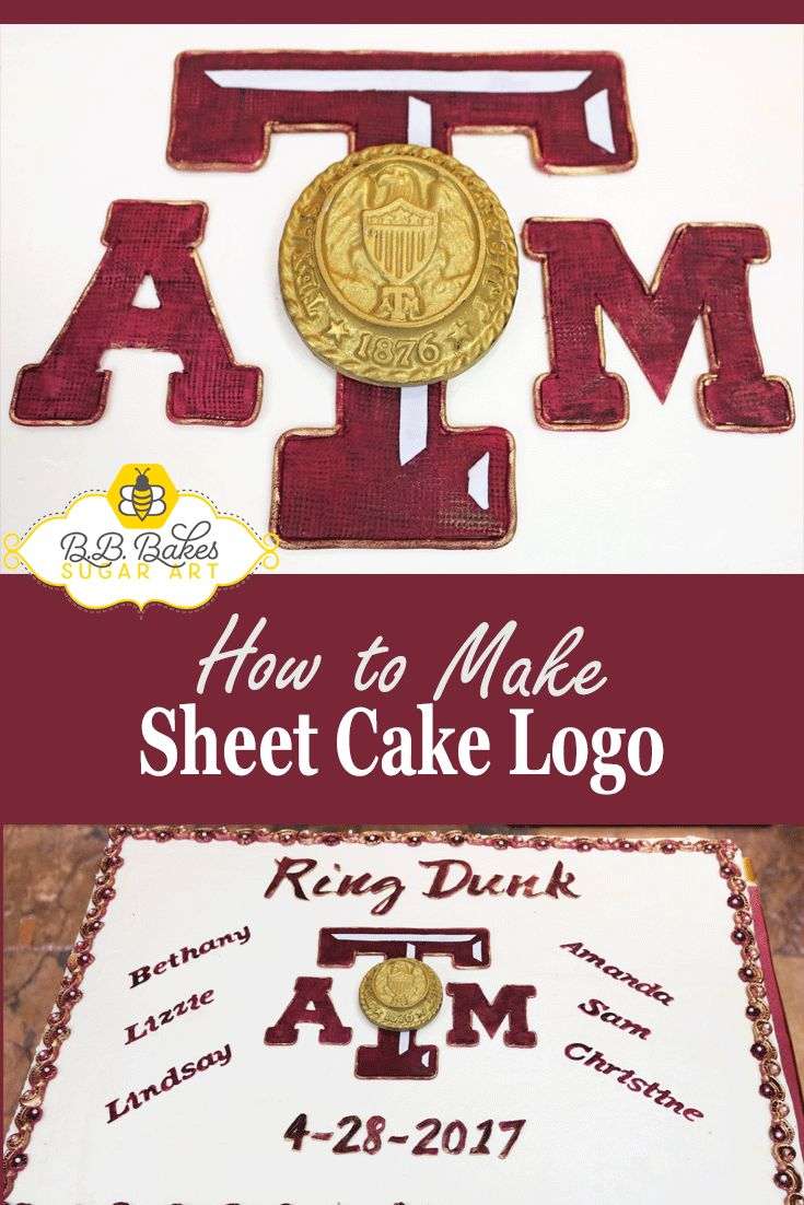 How to make a sheet cake logo. Free tutorial. Texas A&M Ring Dunk Party. via @bbbakessugarart.com