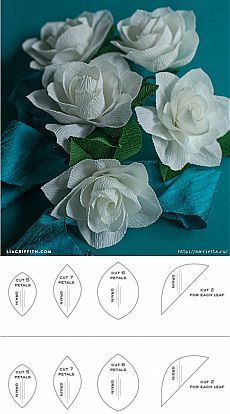 Цветы ГАРДЕНИИ из гофрированной бумаги.