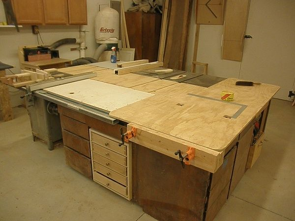 Table saw outfeed table woodworking talk woodworkers for Table saw workbench woodworking plans
