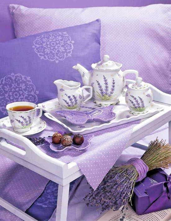 Breakfast in bed in purple and lavender!