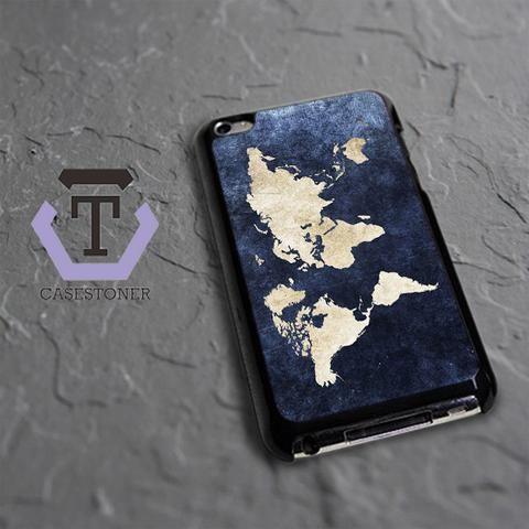 World Grunge Map iPod 4 Black Case