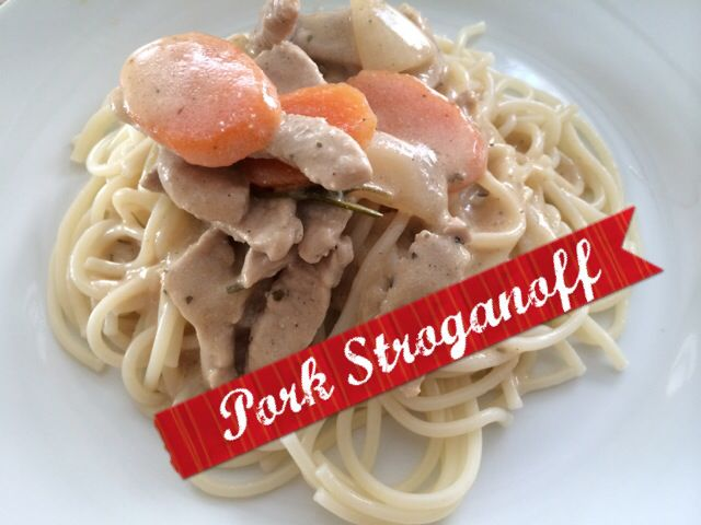 Pork stroganoff with carrots instead of mushrooms
