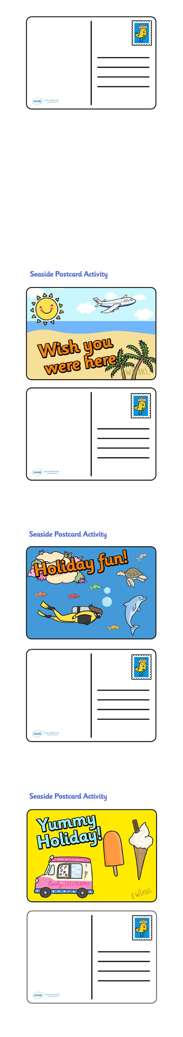 Create a Postcard Activity- Pop over to our site at www.twinkl.co.uk and check out our lovely Seaside primary teaching resources! seaside, postcards, activity #Seaside #Seaside_Resources