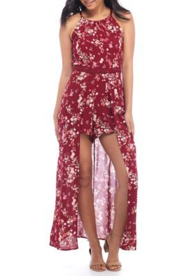 Almost Famous Girls' Halter Crochet Trim Maxi Romper - Wine Combo - Xl