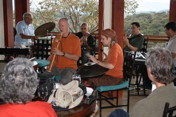 Samjjana in a quest appearance with local jazz group's lunchtime performance in Costa Rica.