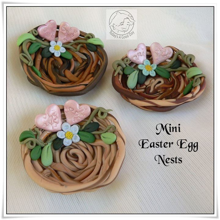 Mini polymer clay easter egg nests - so cute :)