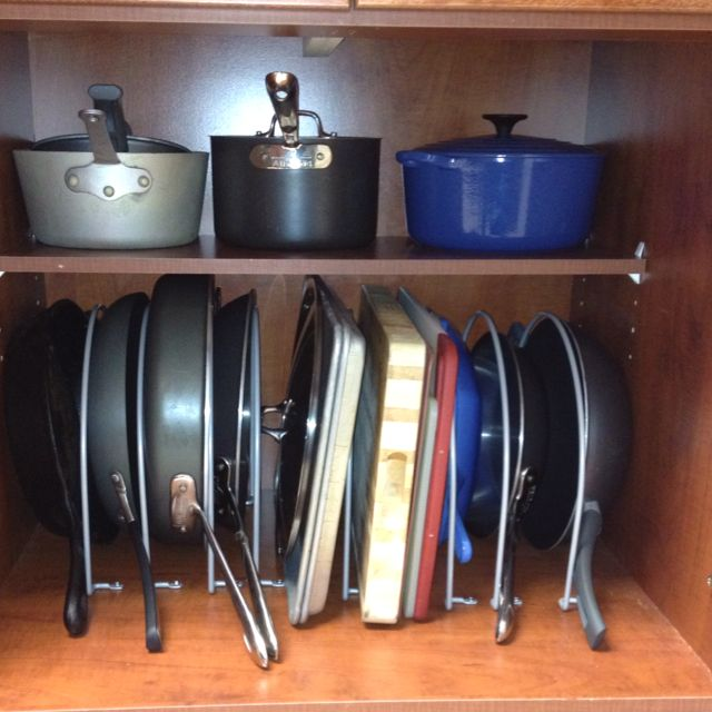 cheap and easy pan organization using ikea rationell tray dividers for 15 bucks no more pan. Black Bedroom Furniture Sets. Home Design Ideas