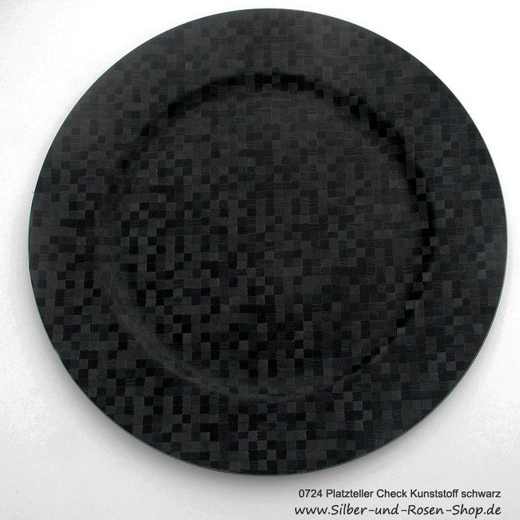 Platzteller Woven Check Kunststoff schwarz