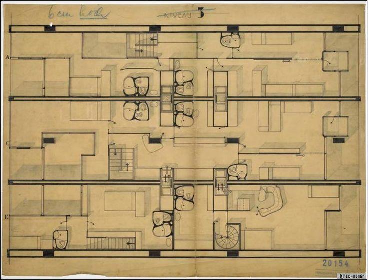 Pic. 08 Unidade de Habitación: Plano dunha proposta para as unidades da planta 3.