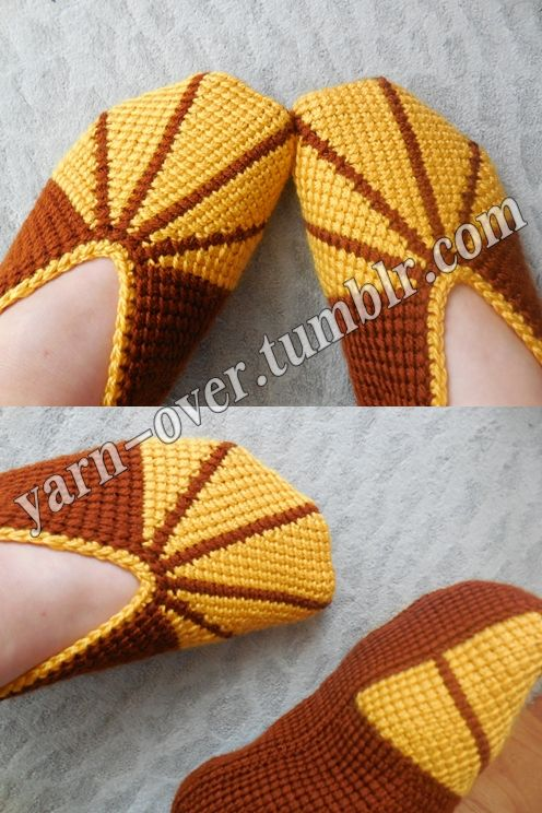Knitting Shoes Tutorial : Tunisian crochet slippers pattern photo tutorial by yarn