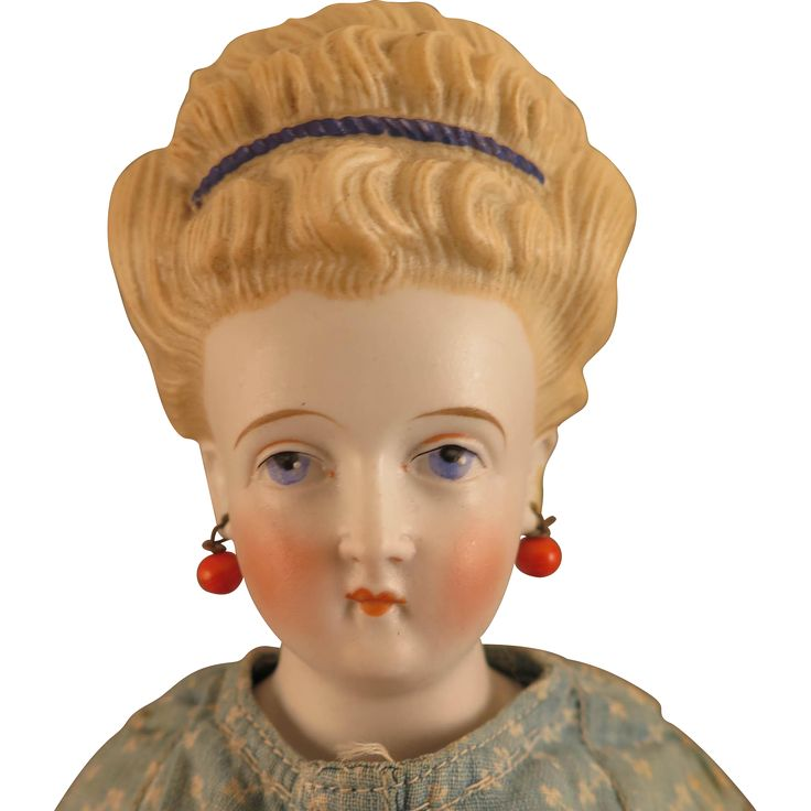 1870s -1880s Conta Boehme Parian Bisque Doll Earrings Headband 19 inches - found at www.rubylane.com @rubylanecom