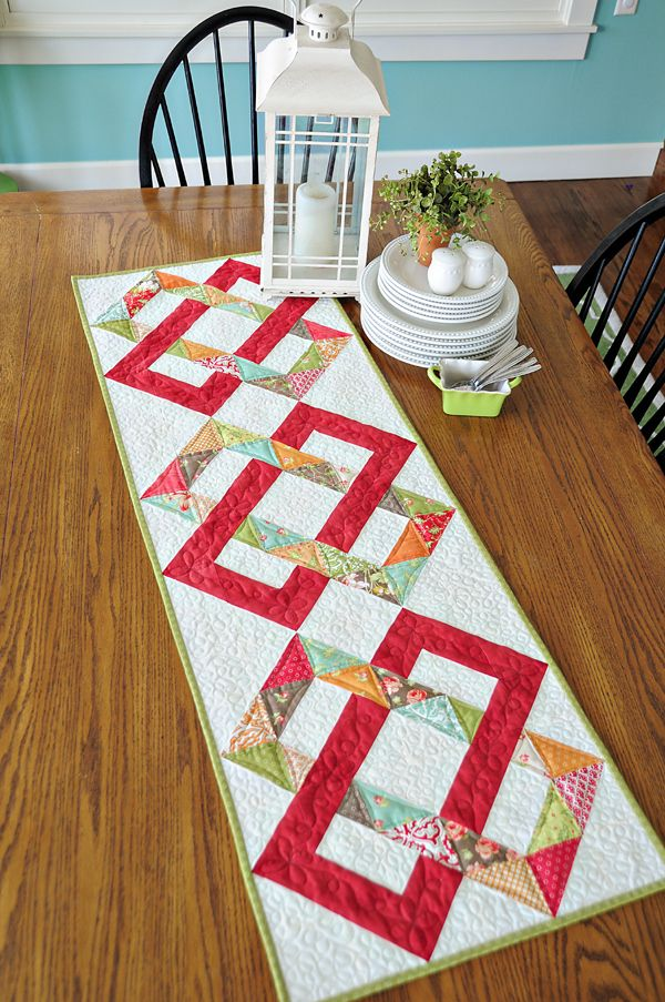 "Table runner with Fig Tree Fabrics, pattern is from ""On the run again"" by Heather Mulder Peterson"