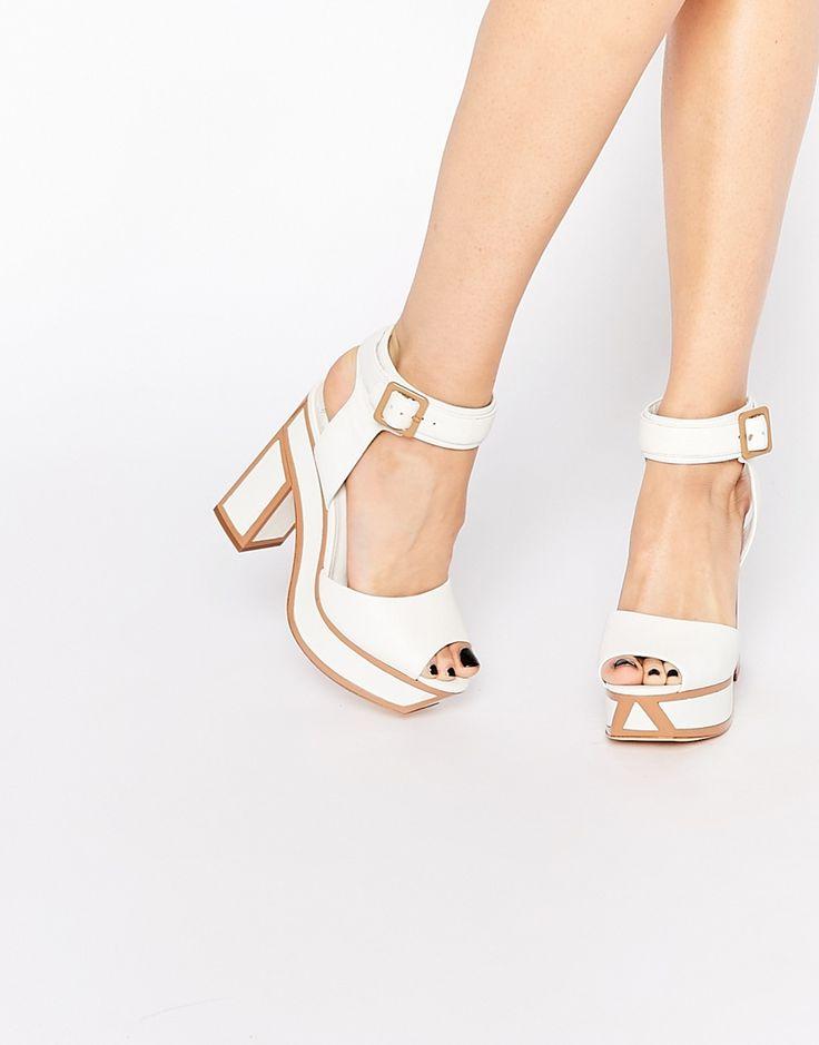 Shop Kat Maconie Nina White Outlined Heeled Sandals at ASOS.