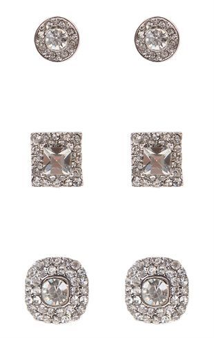 Deb Shops Set of Three Mixed Stone Earrings