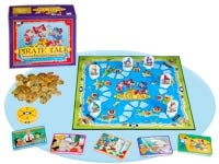 """Pirate Talk Receptive and Expressive Language Game - pirates, """"gold"""" coins, a flashing counter.  This is a great game and the children have the opportunity to follow directions, answer questions, describe items, infer about the pictures.  My students love it!"""