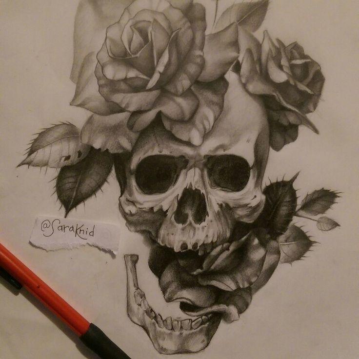 badass skull and roses tattoo design pencil in vellum