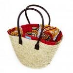 Red and Orange Kanga Lined Basket