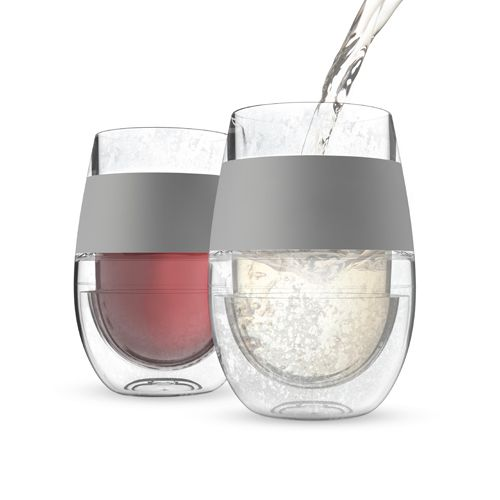 Cooling Wine Glass Set for $24.00 from WineRacks.com  Say goodbye to lukewarm drinks, place in the fridge to cool your reds to the perfect cellar temperature or store in the freezer to chill your whites. No need to pre-plan by chilling your drink beforehand.   Set of 2 Contains optimal cooling gel Insulated rubber grip