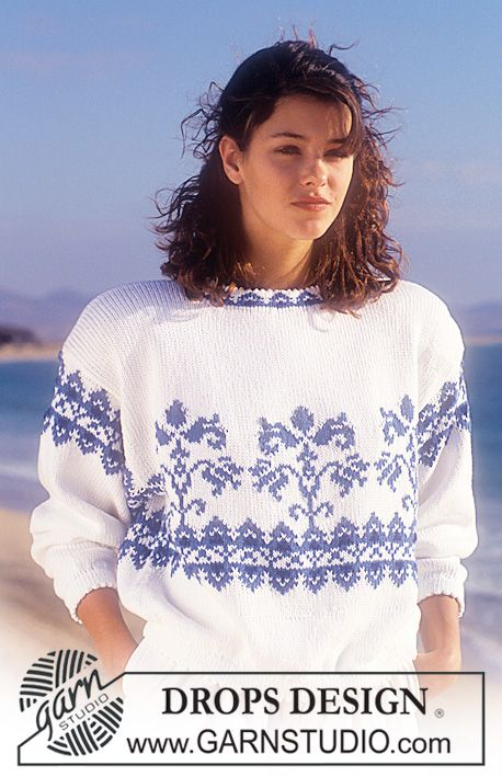 "DROPS 25-7 - DROPS jumper with flower borders in ""Muskat "". - Free pattern by DROPS Design"