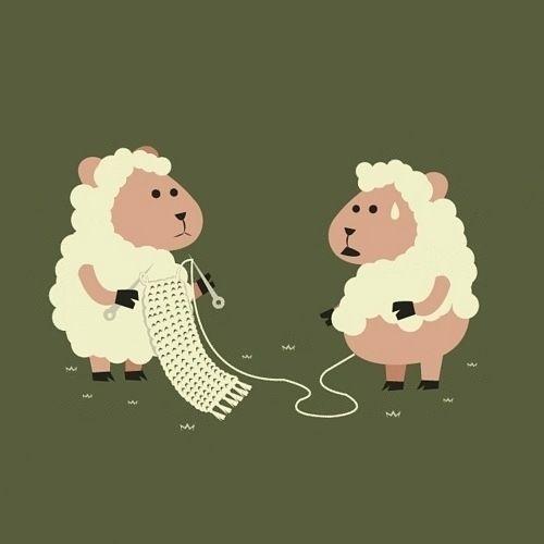 Knitting hahaha! Too cute.