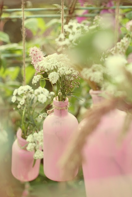 pink bottle in the garden