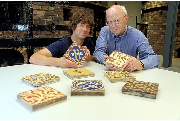 ON THE TILES: Danny Callaghan and Hans Van Lemmen, president of the Tiles and Architectural Ceramics Society. Picture: Nick Hands