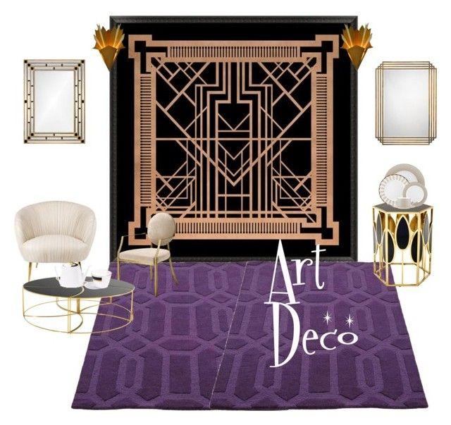"""Art Deco"" by tarekzg on Polyvore featuring interior, interiors, interior design, hogar, home decor, interior decorating, Pottery Barn, Jamie Young, Eichholtz y Lenox"