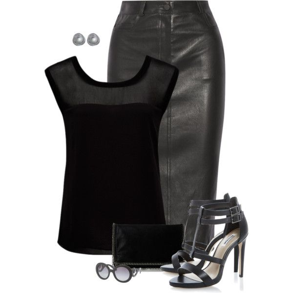 """""""Leather Pencil Skirt"""" by alice325 on Polyvore"""