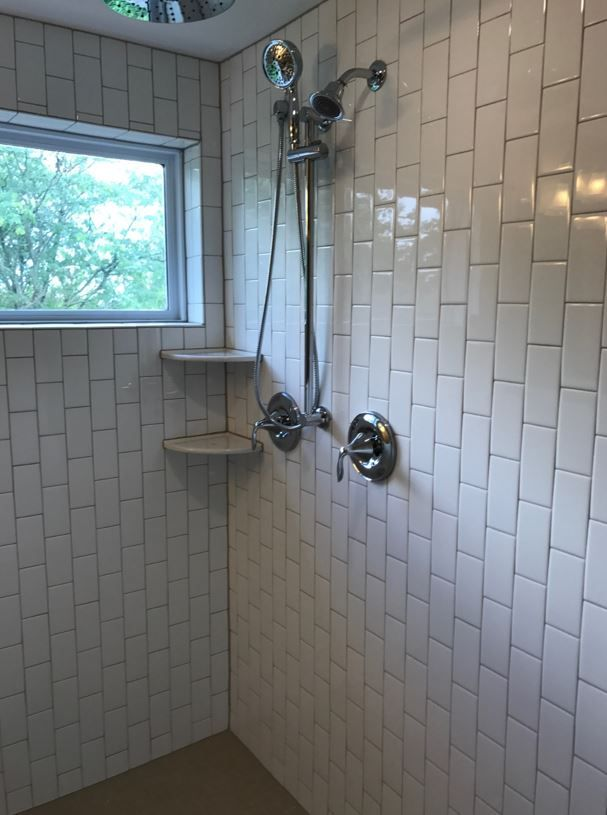 Arctic White 3x6 Gloss Subway Wall Tile Installed Vertical