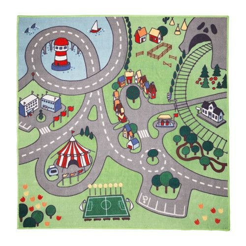 IKEA - STADSDEL, Rug, , Honk and drive! On this rug there are roads, homes, farms, schools, a circus, a football pitch, railroads and many other things - just like in a city. Perfect to combine with toy cars and figures from the LILLABO series.The rug's thick pile dampens sound, creating a snug feeling, and is soft to walk on.Children's play can place tough demands on surroundings, something that also applies to rugs. That's why the rug is made from durable, stain-resistant synth...