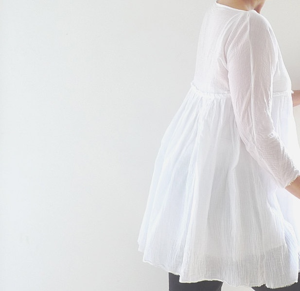 Short White Cheesecloth Tunic/Dress  with Bateau Style Neckline and Gathered Skirt.