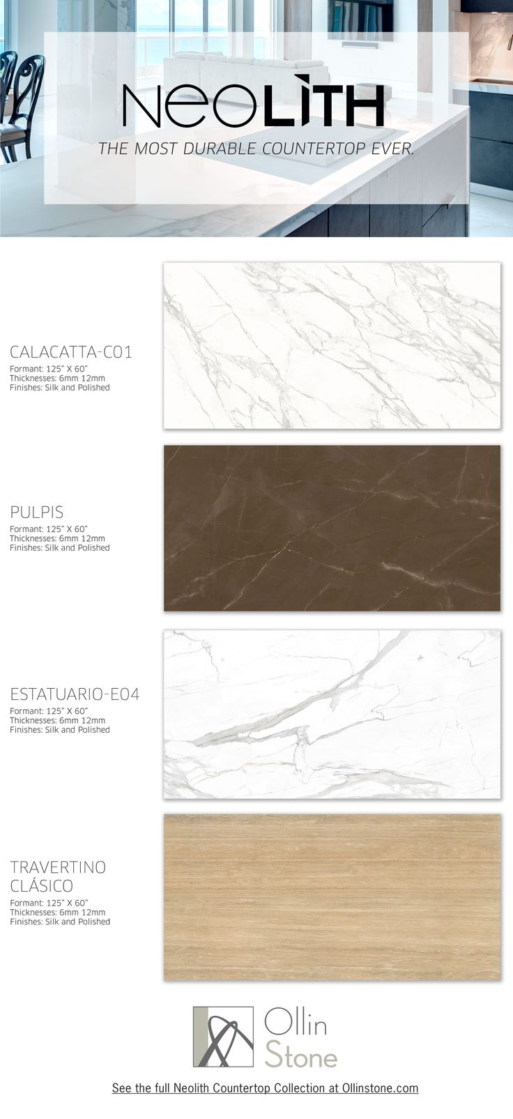 Neolith Sintered Slabs make for the most durable yet  beautifully designed countertop surface on the market. Neolith Slab are also a great solution for flooring & walls. See the full collection at: http://ollinstone.com/product-category/neolith-compact-surfaces/