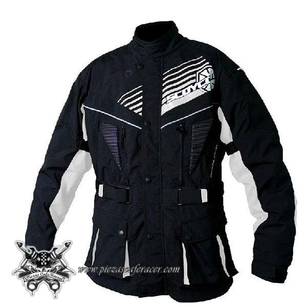 160,26€ - ENVÍO GRATIS - Chaqueta Larga de Piloto Moto Para Travesías Largas con Fuertes Protecciones Color Negro/Azul