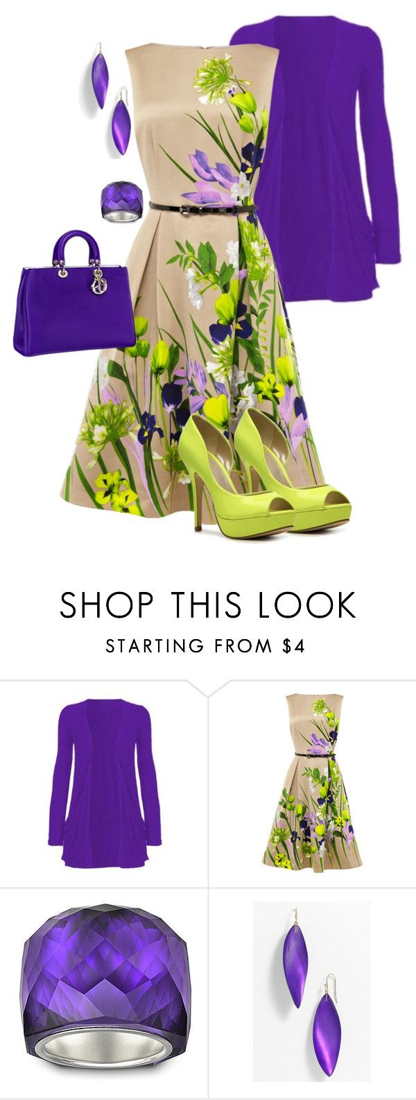 """Garden Party"" by arletamw ❤ liked on Polyvore featuring Coast, Christian Dior, Swarovski, Alexis Bittar, Fergalicious, green shoes, purple, purple purse and sundress"